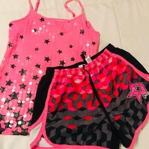 💕Justice Gymnast shorts & Sparkle Tank size 10💕